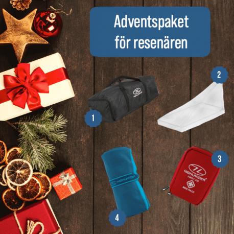 Adventspaket innehåller: Skydd för ryggsäck, myggnät, första hjälpen-kit och resehandduk