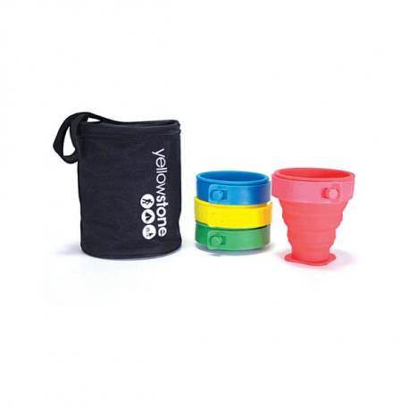 Ihopfällbara muggar – Säljs i uppsättningar med 4 muggar i olika färg