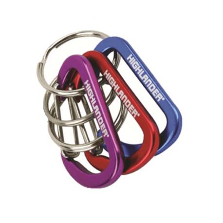 3-pack karbiner i olika färg – 3 nyckelringar ingår.